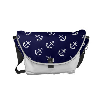 White Anchors Navy Blue Background Pattern Small Messenger Bag