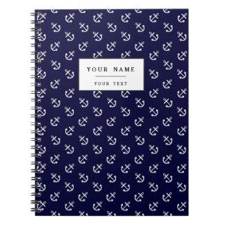 White Anchors Navy Blue Background Pattern Spiral Notebooks