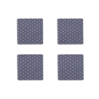 White Anchors Navy Blue Background Pattern Stone Magnet
