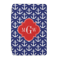 White Anchors Navy Blue, Red 3 Initial Monogram Ipad Mini Cover at Zazzle