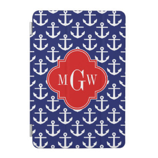 White Anchors Navy Blue, Red 3 Initial Monogram iPad Mini Cover