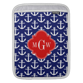 White Anchors Navy Blue, Red 3 Initial Monogram iPad Sleeve