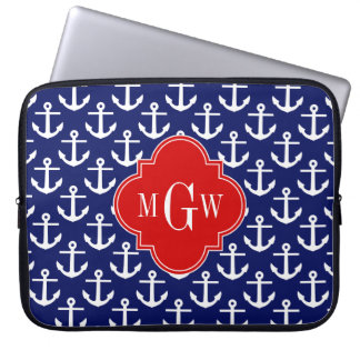 White Anchors Navy Blue, Red 3 Initial Monogram Laptop Computer Sleeves