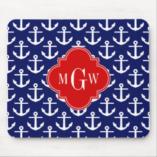 White Anchors Navy Blue, Red 3 Initial Monogram Mouse Pad