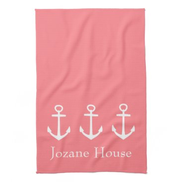 Beach Themed White Anchors on Coral Pink Personalized Hand Towel