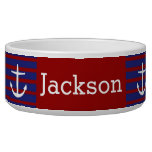 White Anchors on Nautical Red and Blue Stripes Pet Food Bowl