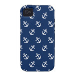White Anchors on Navy Blue Case-Mate iPhone 4 Covers