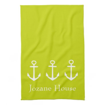 Beach Themed White Anchors on Tropical Lime Green Personalized Hand Towel