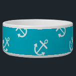 "White Anchors Scuba Blue Background Pattern Bowl<br><div class=""desc"">Preppy, stylish color combination for her, nautical style, white anchors pattern printed on a scuba blue solid color background. GraphicsByMimi &#169;. A fun cute girly versatile pattern. Use to create your own one of a kind gift for you or your friends and family by personalizing it with your name, monogram,...</div>"