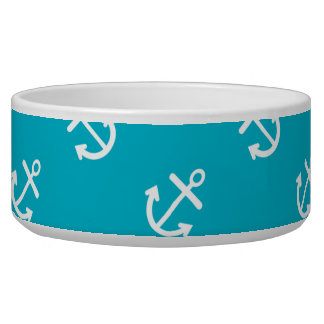 White Anchors Scuba Blue Background Pattern Bowl