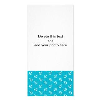 White Anchors Scuba Blue Background Pattern Photo Card