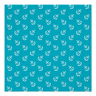 White Anchors Scuba Blue Background Pattern Poster