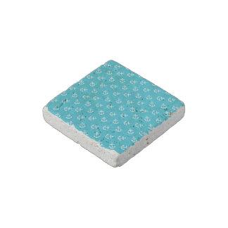 White Anchors Scuba Blue Background Pattern Stone Magnet