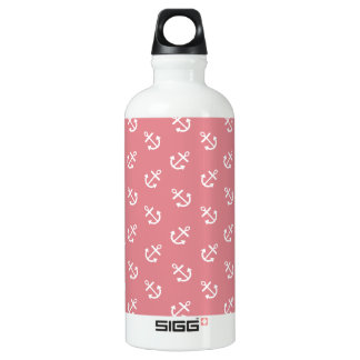 White Anchors Strawberry Background Pattern Water Bottle