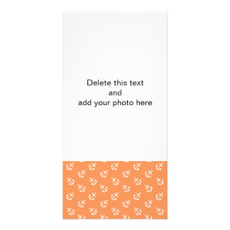 White Anchors Tangerine Background Pattern Photo Card
