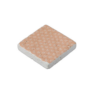 White Anchors Tangerine Background Pattern Stone Magnet