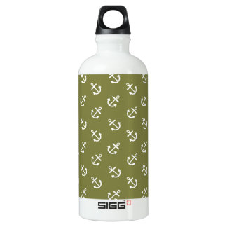 White Anchors Woodbine Green Pattern Aluminum Water Bottle