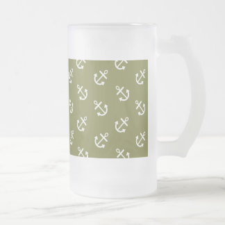 White Anchors Woodbine Green Pattern Frosted Glass Beer Mug