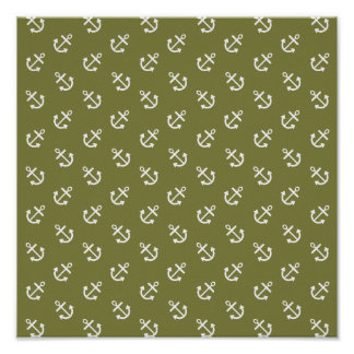 White Anchors Woodbine Green Pattern Poster