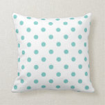 White And Aqua Blue Polka Dots Toss Pillows