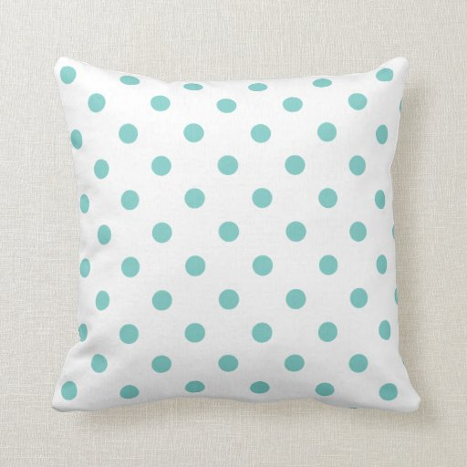 White And Aqua Blue Polka Dots Toss Pillows