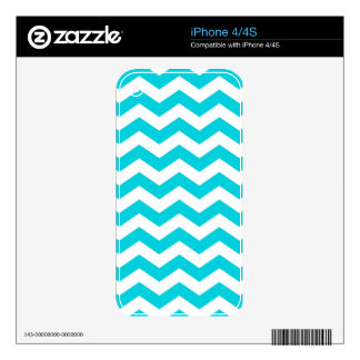 White and Aqua Zig Zag Pattern Skin For The iPhone 4