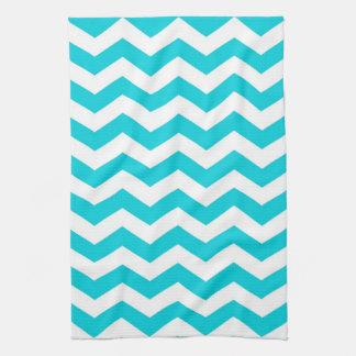 White and Aqua Zig Zag Pattern Towels