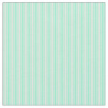 [ Thumbnail: White and Aquamarine Colored Lines Pattern Fabric ]
