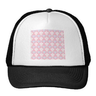 White and baby blue damask on pink background trucker hat