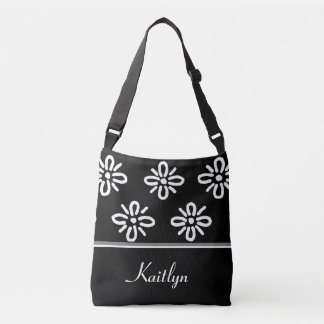 White and Black Abstract Flowers | Personalized Tote Bag