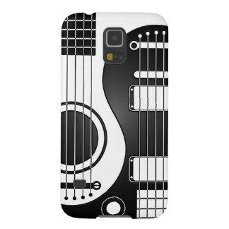 White and Black Acoustic Electric Guitars Yin Yang Galaxy S5 Cases