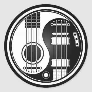 White and Black Acoustic Electric Guitars Yin Yang Classic Round Sticker