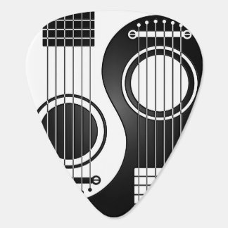 White and Black Acoustic Guitars Yin Yang Guitar Pick