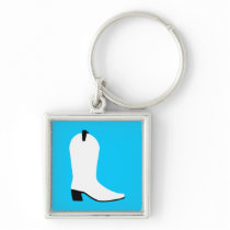 White and Black Boot Keychain