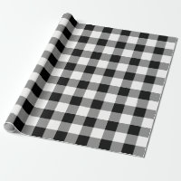 White and Black Buffalo Check Plaid - Gift Wrap