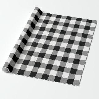 White and Black Buffalo Check Plaid - Gift Wrap