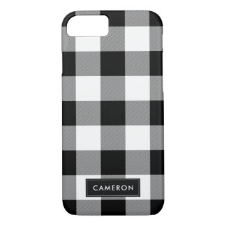 White and Black Buffalo Check Plaid - Phone Case