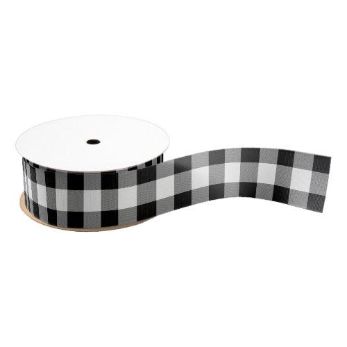 White and Black Buffalo Check Plaid - Ribbon