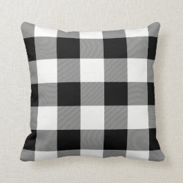 White and Black Buffalo Check Throw Pillow