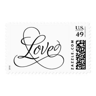 White and Black Calligraphic Love Postage