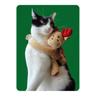 White and Black Cat & Reindeer Christmas Toy Card
