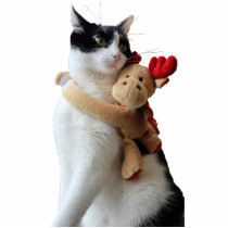 White and Black Cat & Reindeer Toy Ornament Cutout