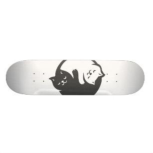 White and black cat Yin-Yang - Choose back color Skateboard
