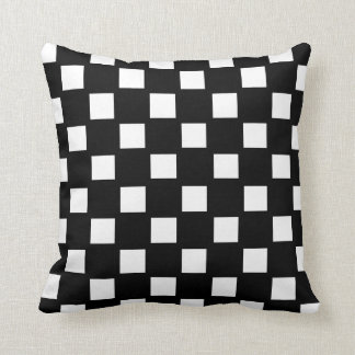 White and Black Checked Throw Pillow