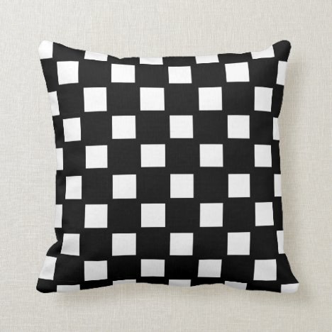 White and Black Checked Throw Pillow