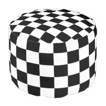 White and Black Checkered Pouf