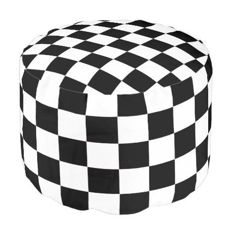 White and Black Checkered Pouf
