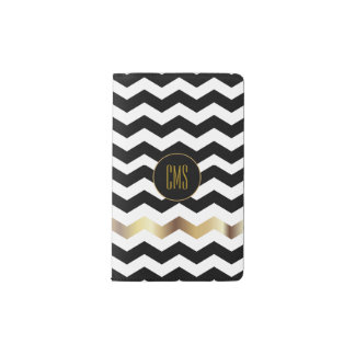 White and Black Chevron Pattern    Monogram Pocket Moleskine Notebook