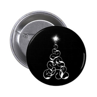 White and Black Christmas Tree Art Pinback Button