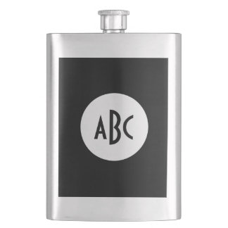 White and Black Circle Monogram Hip Flask